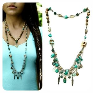 Kinley Multi Strand Pearl and Turquoise Necklace